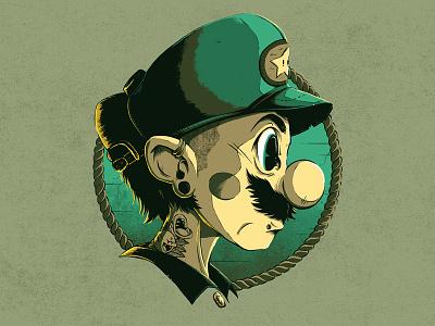 """Hipster Luigi"" graphic design fan art super mario texture illustration character hipster luigi"
