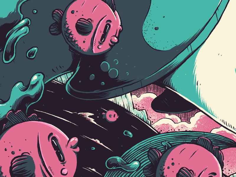 """Fishies"" graphic design photoshop digital art illustration waves ocean fish"