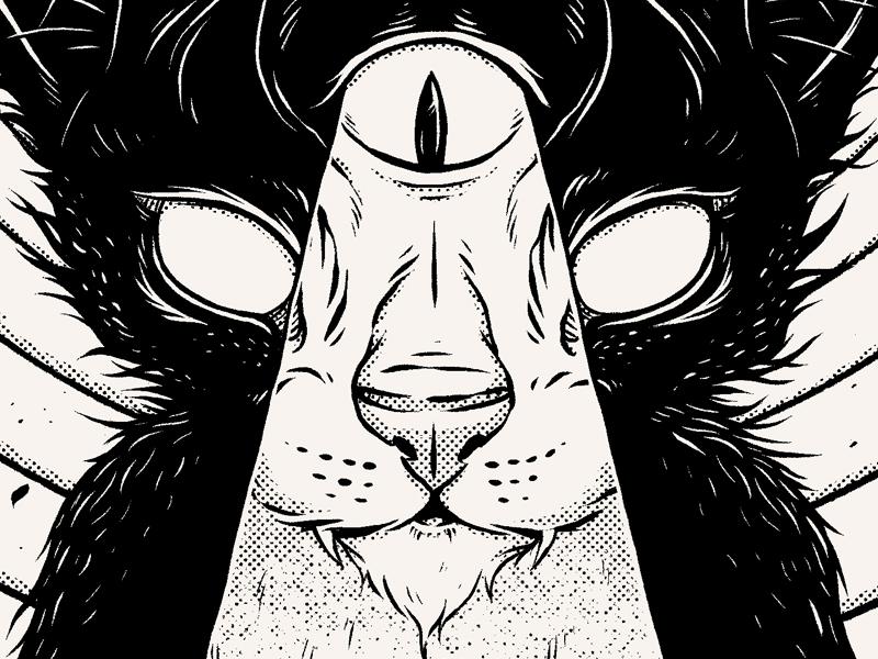 """Introspection"" spiritual cat texture print shirt merch apparel band music dark"