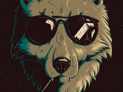 """Party Wolf Dude"" texture photoshop design graphic illustration art toothpick badass glasses sunglasses dog wolf"