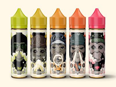 """V-Ape Labels"" characters photoshop design graphic eliquid labels vaping vape illustration cool ape monkey"