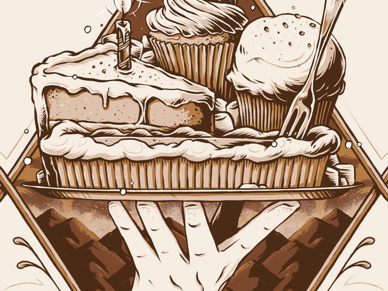 """Moose Juice - Half Baked"" artwork dessert baked illustrator texture photoshop illustration graphic design label eliquid vape"