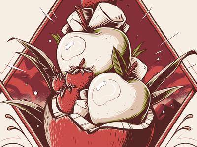 """Moose Juice - SMAC"" apple strawberry fruit illustrator texture photoshop illustration graphic design label eliquid vape"