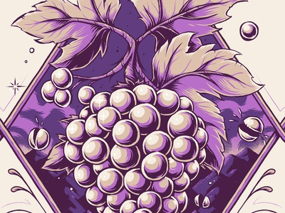 """Moose Juice - Grape Escape"" artwork grapes fruit illustrator texture photoshop illustration graphic design label eliquid vape"
