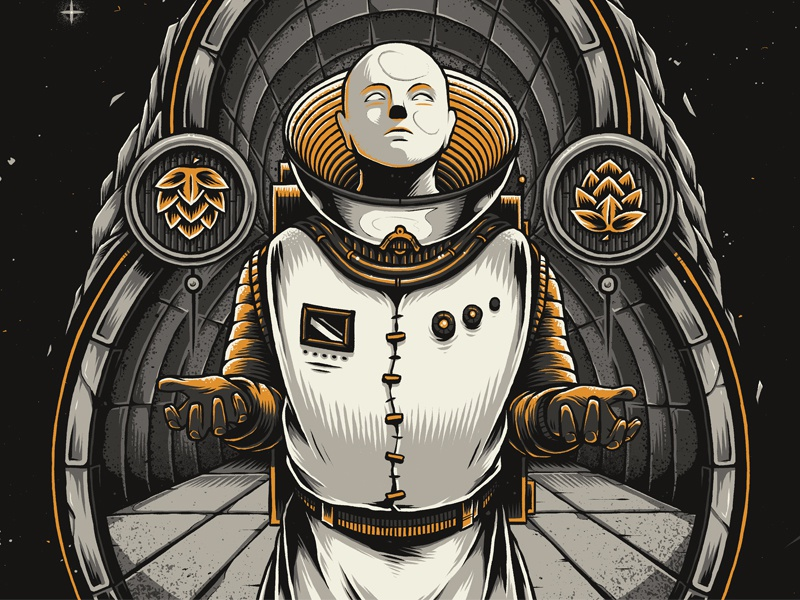 """Eighth Merchant"" alien intergalactic photoshop design art illustration craft beer beer science fiction space astronaut"
