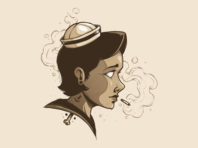 """Smoking Sailor"" smoking tattoo sailor girl sketch artwork design graphic art texture photoshop illustration"