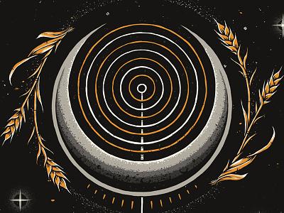 """Eighth Merchant"" behance hops barley wheat label craft beer stars planets alien astronaut space graphic design photoshop texture illustration"