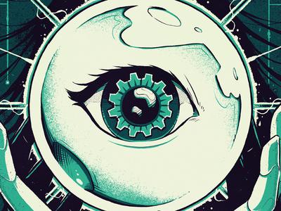"""DevOps Culture Magazine"" developers editorial technology future hands eye crystal ball sci-fi graphic design space artwork art graphic design photoshop texture illustration"