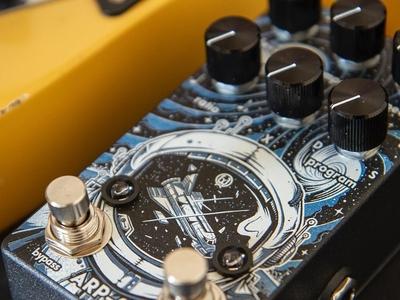 """Walrus Audio Arp-87"" spaceship astronaut intergalactic galaxy pedal guitar graphic design space music artwork art graphic design photoshop texture illustration"