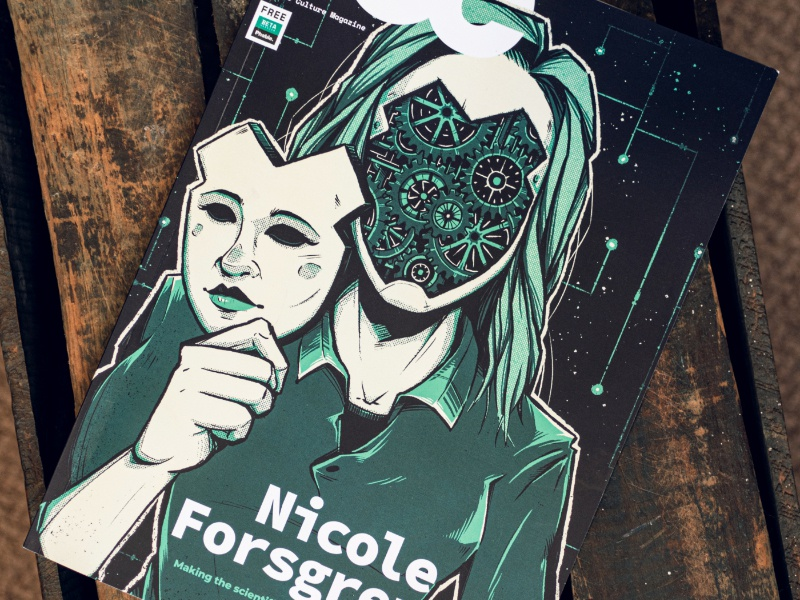 """DevOps Culture Magazine"" technology cyborg andoid mask nicole forsgren digital art graphic design behance cover sci-fi magazine editorial artwork graphic design photoshop texture illustration developer"