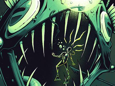 New Project on Bēhance! affinity adobe behance scary diver scuba angler fish fish digital art dark graphic design artwork art graphic design texture illustration