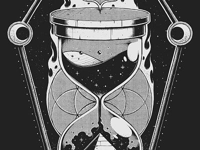 Sands of Time photoshop design emblem dark artwork sacred geometry drawing texture digital art graphic design art hoodie merch band hourglass illustration