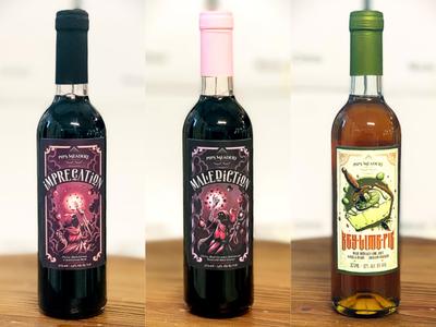 Pips Meadery digital art artwork graphic art bottleshot pie warlock wizard fiction fantasy illustration graphic design design label bottles mead