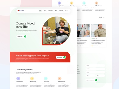 Blood donate landing page design blood donation medical design trendy design new design minimal design landing page agency medical blood donor web design blood donate website blood donate landing page blood blood donate 2020 website ux ui minimal landing page design