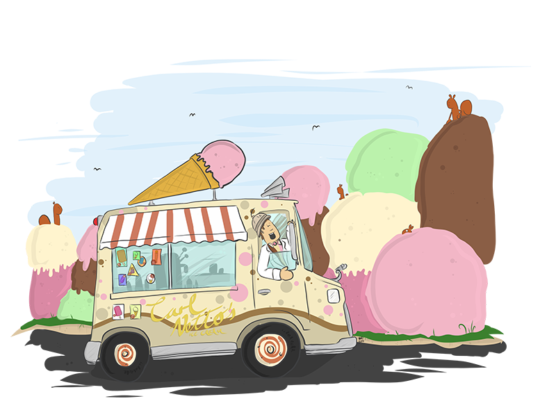 Carl Netto The Marvellously Magical Ice Cream Man squirrels van character design picture book kid lit ice cream cartoon