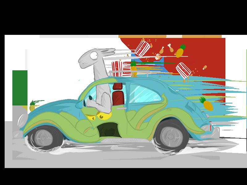 Llama Carma Drama weird madebybaz race octopus vw illustration adobedraw fried-chicken pineapple car volkswagen llama