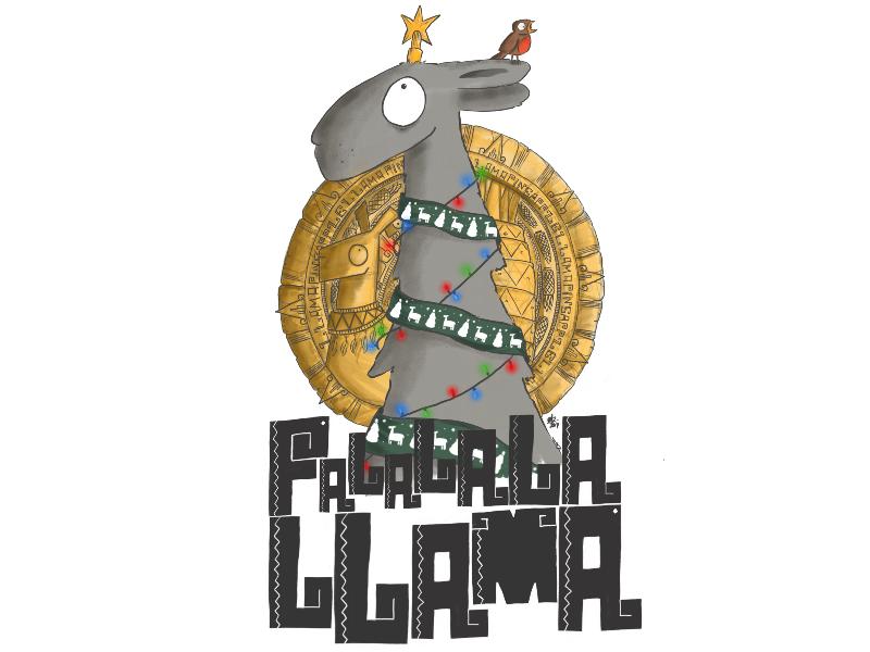Falalalallama '17 aztec cartoon illustration sketchbook pro christmas pineapple llama
