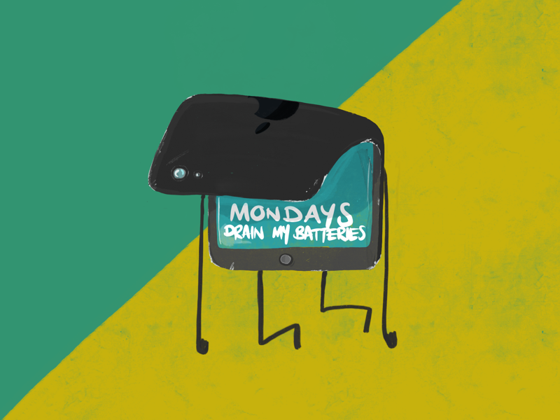 Monday's drain my batteries... procreate concepts sketches monday humour ipad character design digital art