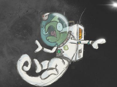 Chameleon in Space sketch character chameleon lizards space