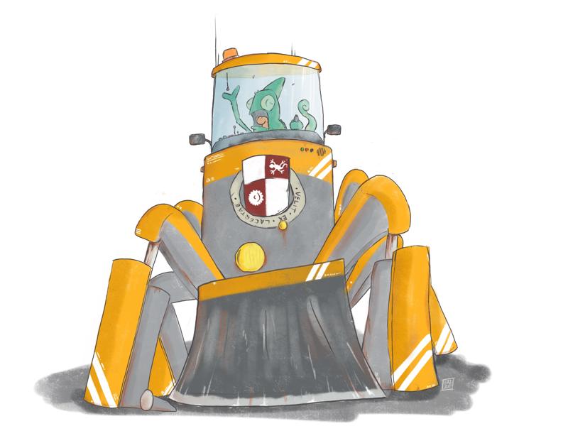 Gerald. character design illustration iphone sketchbook pro lizard robot snow