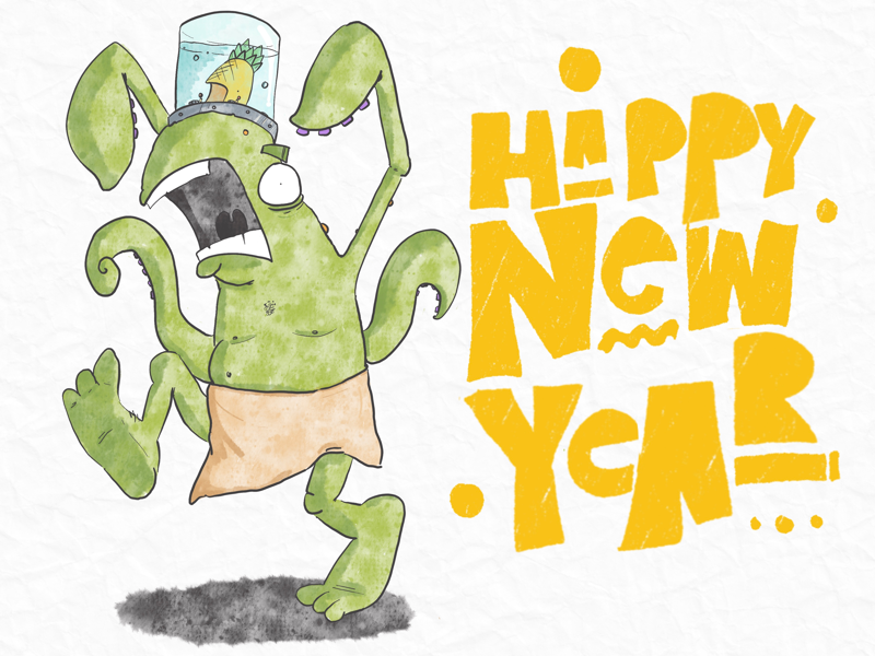 Happy New Year Dribbblers pineapples zombie amphibians new year