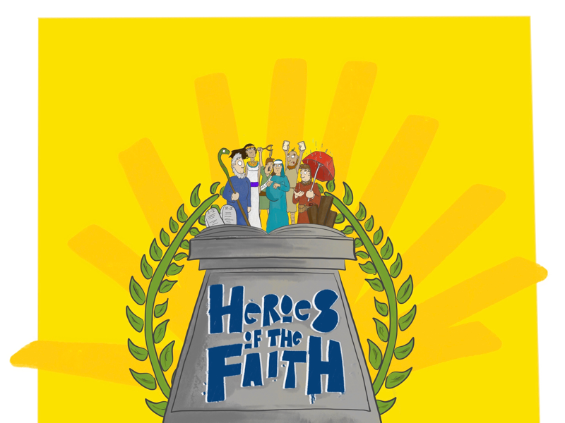 Heroes of the Faith advert logo bible cartoon type fonts custom font ministry church advert logo