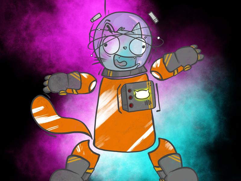 Astrokitteh madness kitteh space doodle cartoon cat