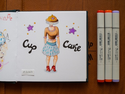 Cupcake Woman / Copic Markers illustration sketch markers copics copic woman cupcake