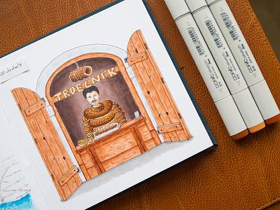 Trdelnik Sketch / Copic Markers illustration sketch markers copics copic trdlo trdelnik