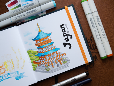 Japan Temple Illustration / Copic Markers