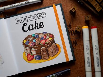 Birthday Cake Illustration / Copic Markers