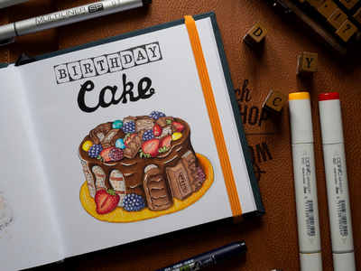 Birthday Cake Illustration / Copic Markers sketch markers chocolate cake berries copic copics