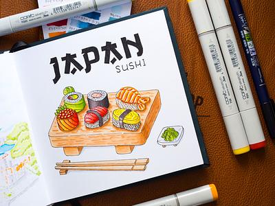 Japan Sushi Illustration / Copic Markers sketch markers illustration food japan sushi copic copics