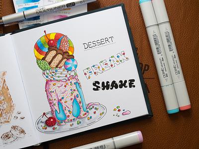 Dessert Freak Shake Illustration / Copic Markers sketch markers illustration food drink dessert copic copics