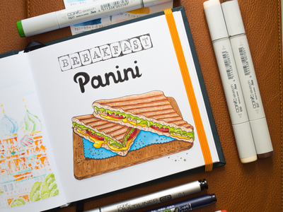 Panini Breakfast Illustration / Copic Markers