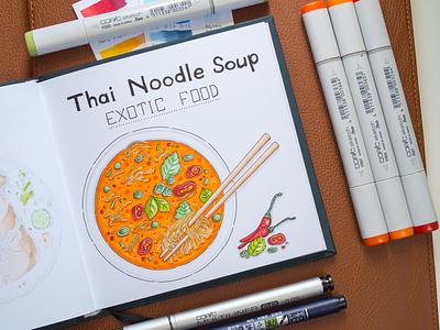 Noodle Soup Illustration / Copic Markers sketch markers illustration food soup noodle thai copic copics