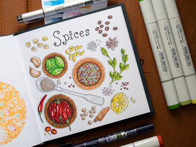 Spices Illustration / Copic Markers sketch markers illustration food spices copic copics