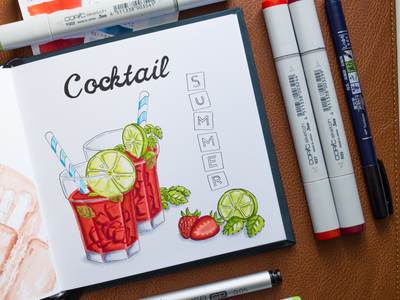 Summer Cocktail Illustration / Copic Markers sketch markers illustration food summer cocktail cocktails copic copics