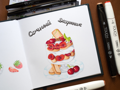 Dessert Illustration / Touch Markers sketch markers illustration food tiramisu dessert cocktails copic copics touch