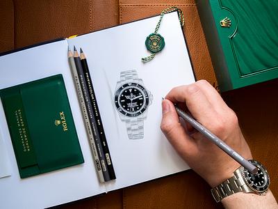 Rolex Watch Pencil Illustration / Prismacolor Pencils pencil sketch markers illustration watch luxury rolex pencils cprismacolor
