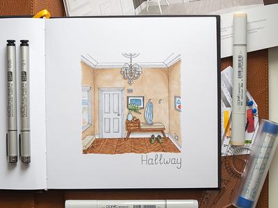 Hallway interior sketch / Copic Markers markers illustration interior design room hallway sketch copic copics