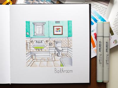 Bathroom Illustration / Coptic Markers sketch markers illustration food interior design interior design architecture copic copics
