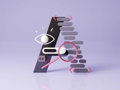 A - a11y contrast interface b3d c4d branding ui cinema4d a11y accessibility type design geometric 36 days of type 36daysoftype render blender3d 3d typography design illustration