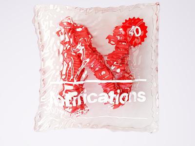 N  - Notifications render hearts type design notification badge packaging mockup packaging vacuum branding ui illustration typography blender3d b3d digital art 3dtype cgi 3d 36 days of type 36daysoftype