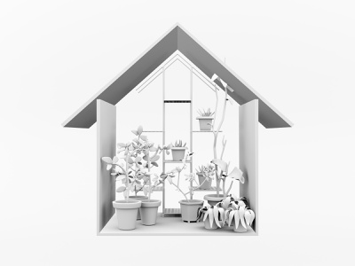 Stay home - Home garden! product stay safe stay home glow foliage nature cgi branding house flower pots texture flowers virtual garden plants render blender3d 3d design illustration