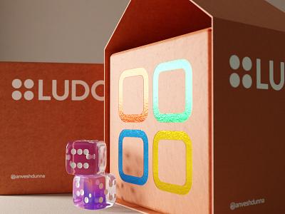 Ludo - what if iridescent indoor cgi cardboard foil print product render board game ludo dice mockup packaging design packaging logo composition render branding blender3d 3d design illustration