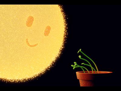 🌞 🧡 🌱 phototropism chibi kawaii glow character design shimmer love attraction plant sun loop motion design animation composition 3d blender3d render branding design illustration