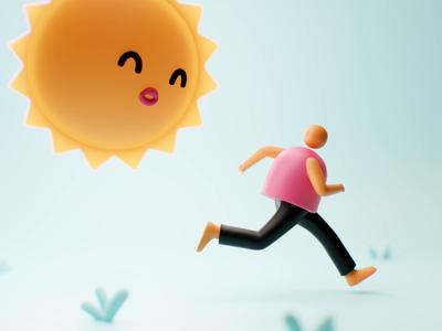 Summer branding kawaii character design product gif animated gif love sunny summer run cycle stopmotion stop motion loop animation animated cgi blender3d 3d design illustration