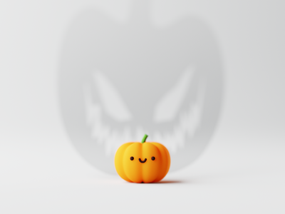 🎃 cgi sticker emoji 3dillustration kawaii cute ghost pumpkin spooky halloween composition render blender3d 3d design illustration