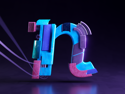 N - 36DaysofType06 concept render cg composition art direction cgart abstract wires leather nebula 36daysoftype-n logo 36daysoftype hyderabad blender3d 3d blender typography design illustration